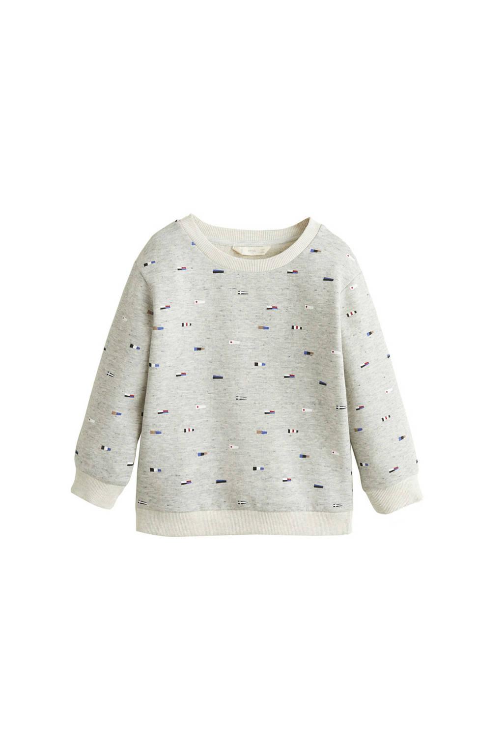 Mango Kids sweater met all over print grijs, Grijs melange