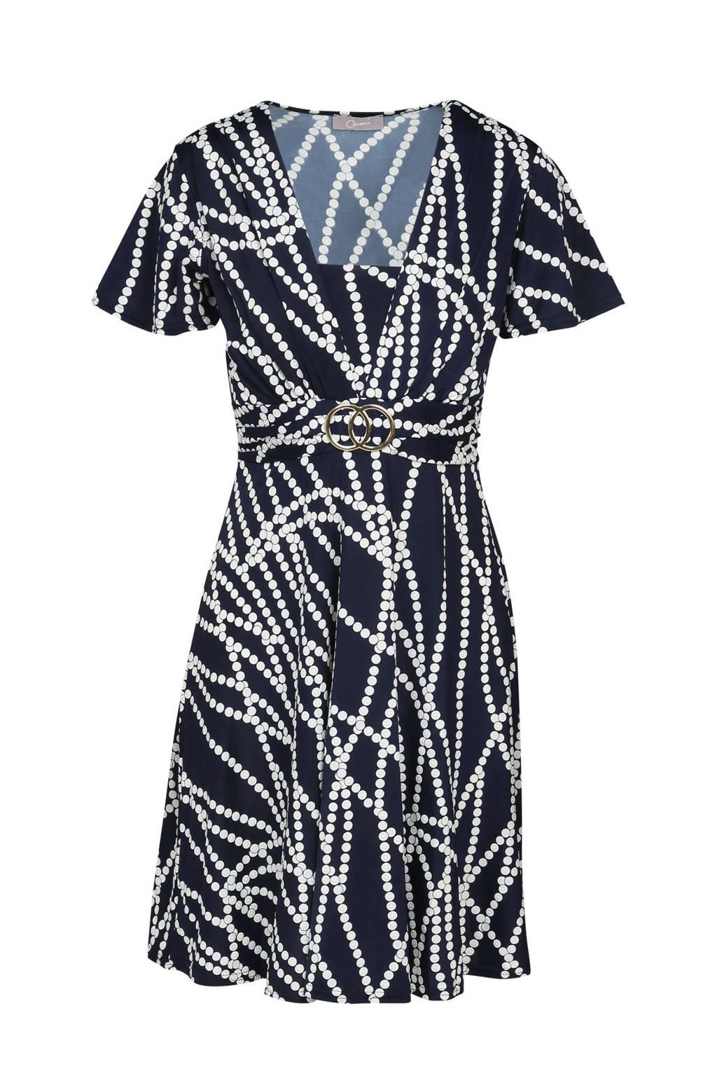 Cassis jurk met all over print donkerblauw, Donkerblauw