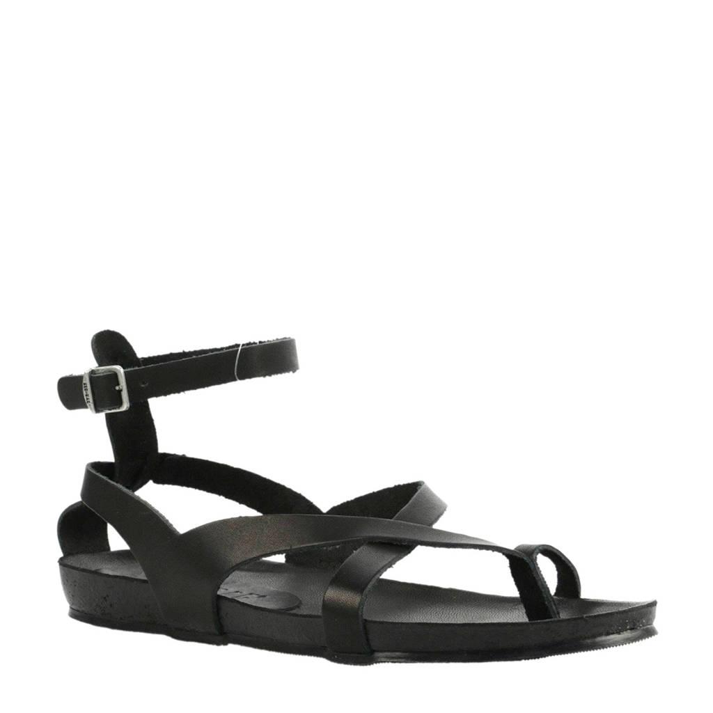 Red Rag 79148  leren sandalen zwart, Zwart