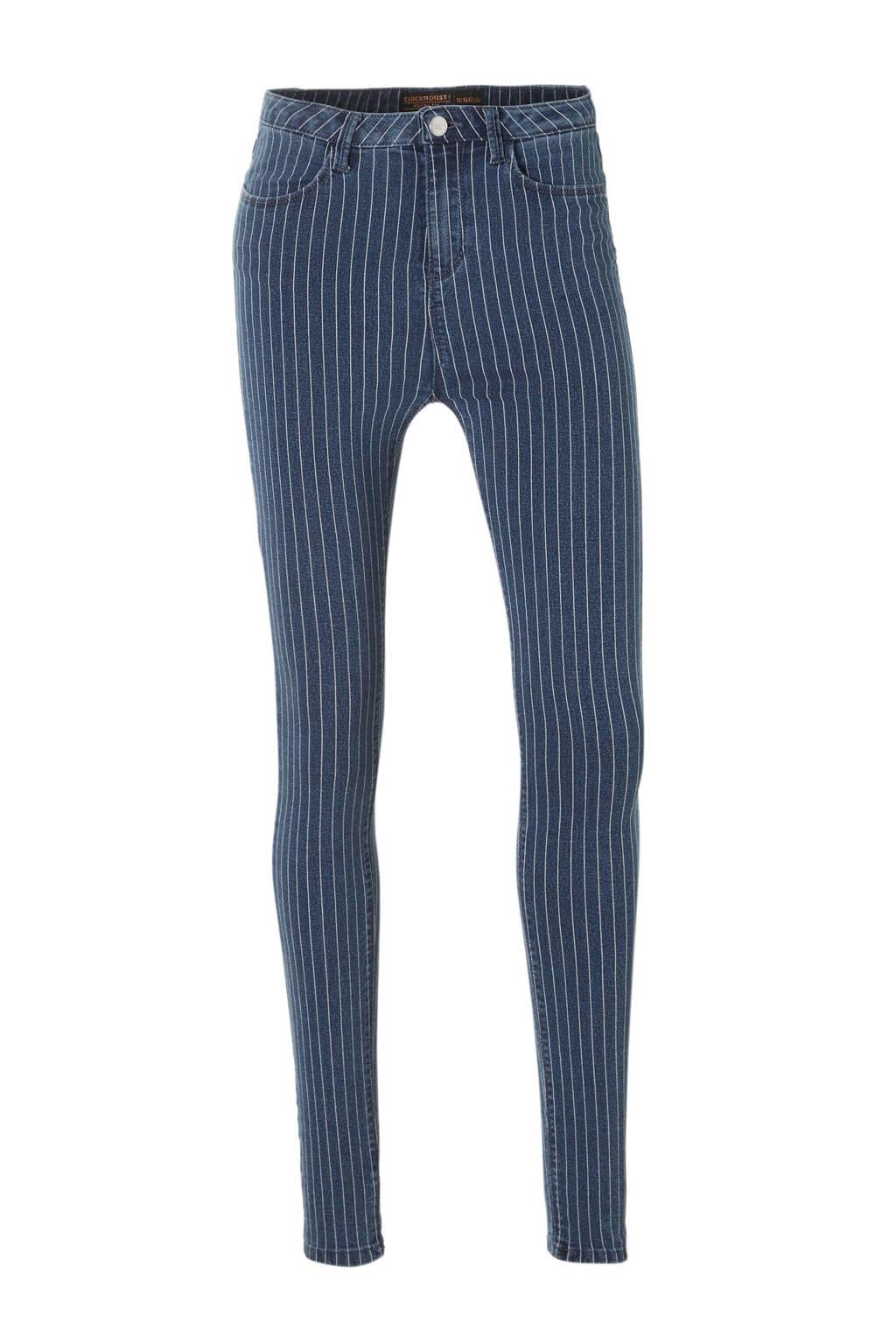 C&A Clockhouse gestreepte high waist skinny jeans, Donkerblauw