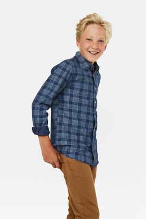 slim fit geruit overhemd blauw