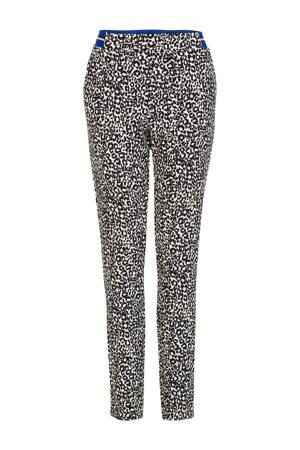 slim fit broek met panterprint zwart/ecru