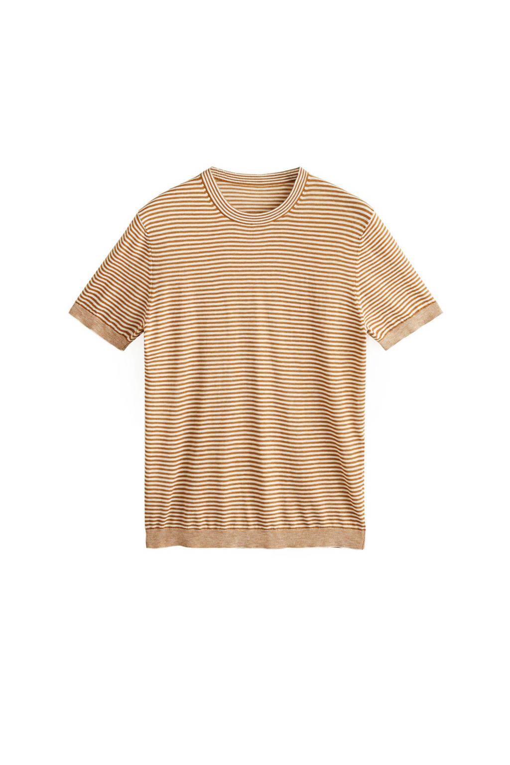 Mango Man fijn gebreid T-shirt met streep, middenoranje