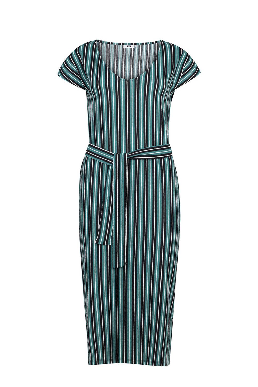 WE Fashion gestreepte jurk met strikdetail petrol, Petrol/zwart