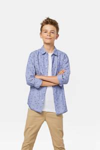 WE Fashion overhemd met all over print blauw, Blauw