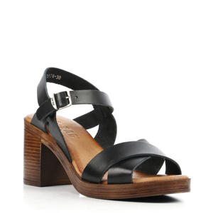 79174  leren sandalettes zwart