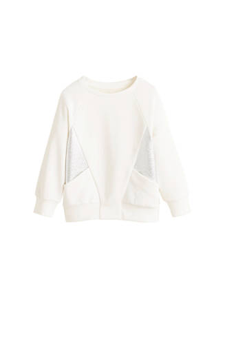 sweater met metallic details ecru