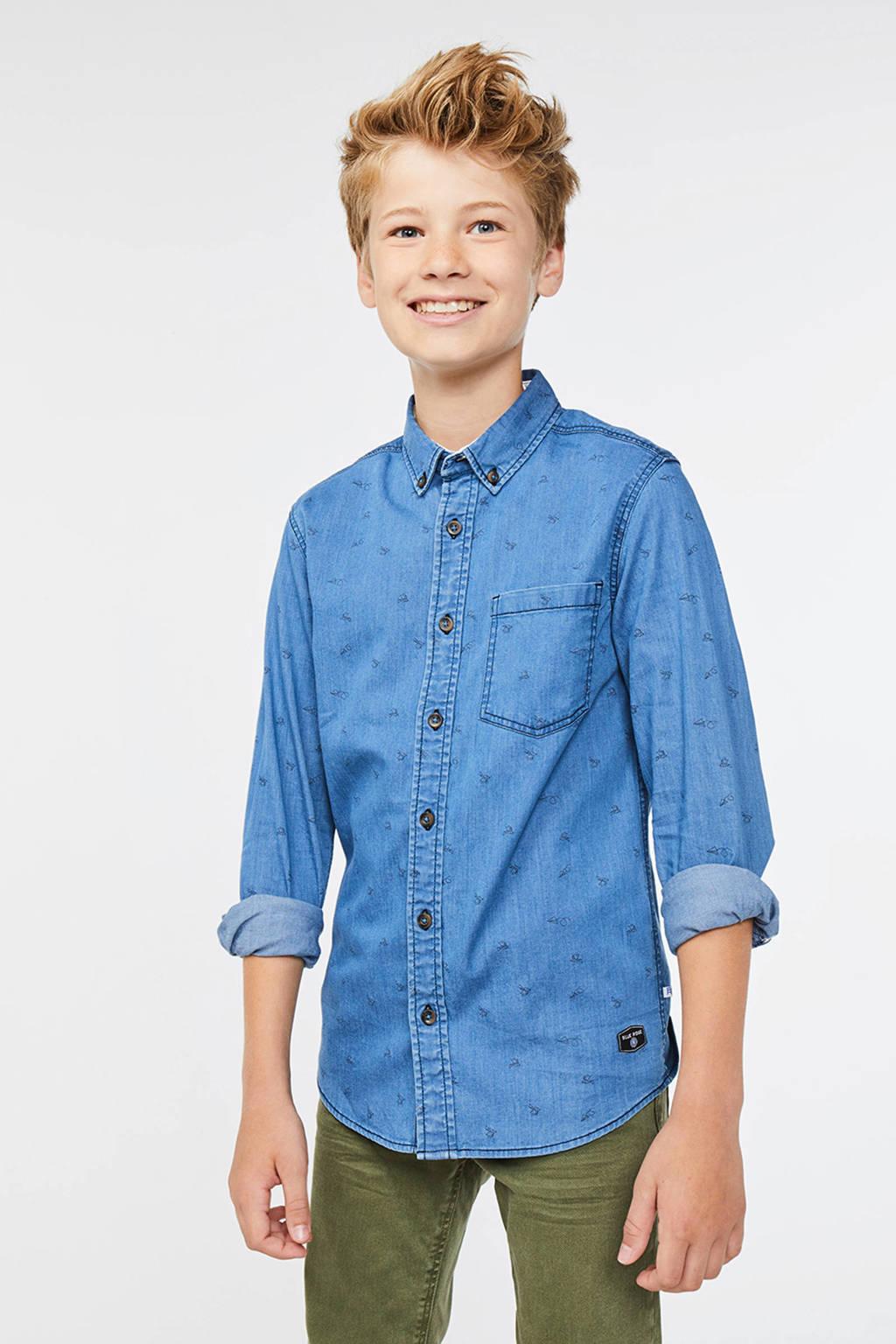 WE Fashion Blue Ridge denim overhemd met all over print blue denim, Blue denim
