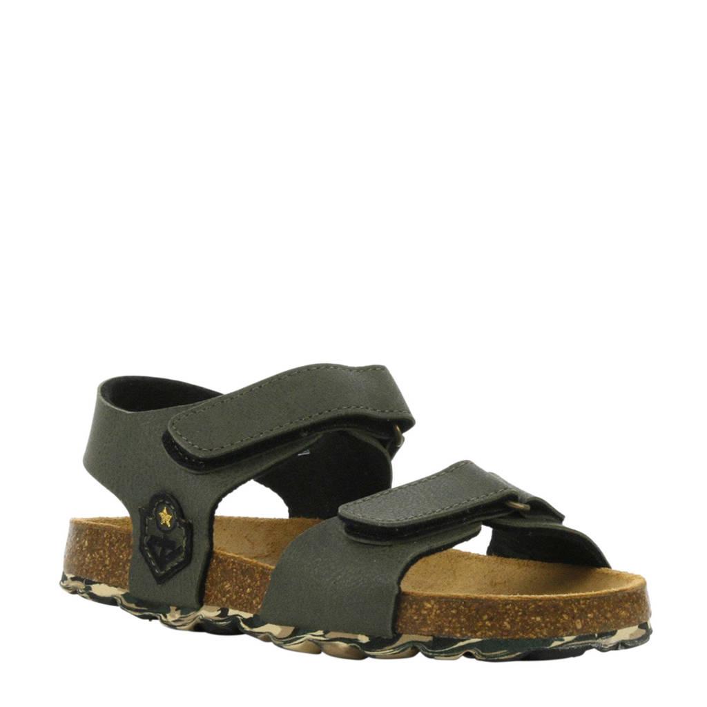 Develab   leren sandalen legergroen, Groen/legergroen