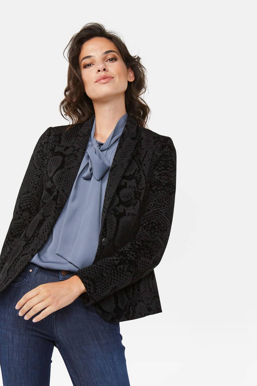 WE Fashion fluwelen blazer zwart
