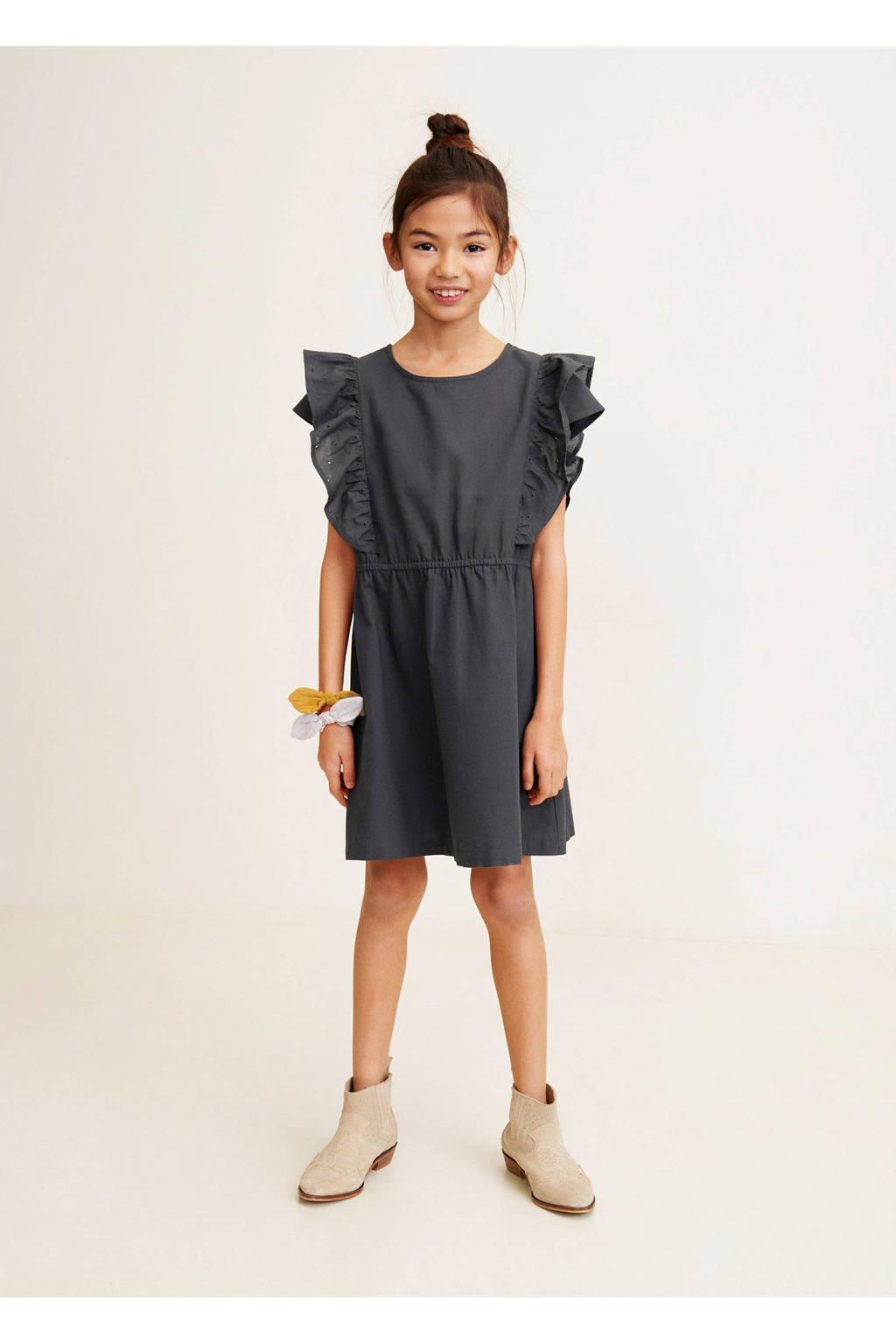 Mango Kids jurk met volant grijs, Donkergrijs