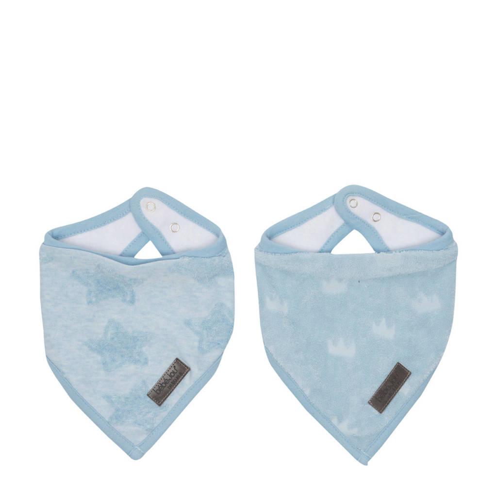 bébé-jou bandana slab Fabulous Frosted Blue - set van 2, Blauw