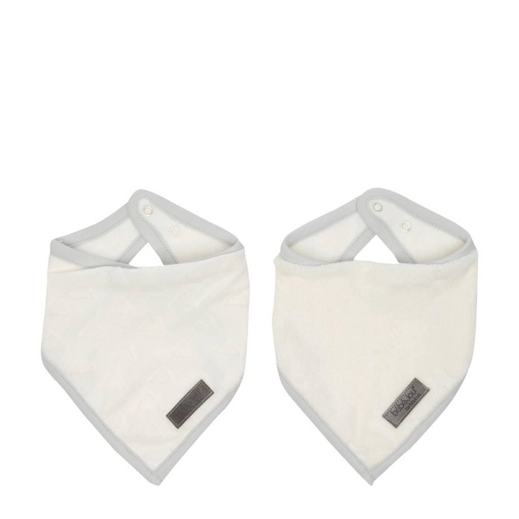 bébé-jou bandana slab Fabulous Shadow White - set van 2, naturel wit