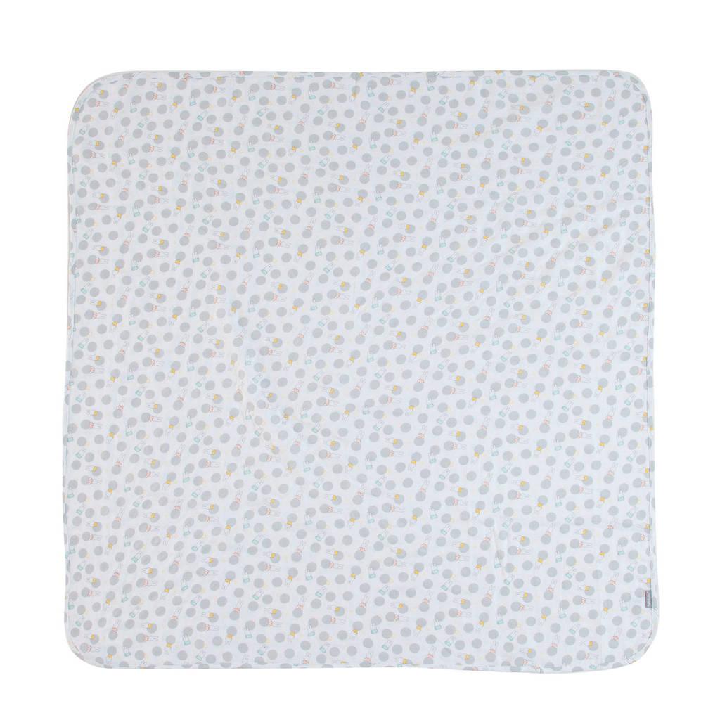 bébé-jou hydrofiele doek 110x110 cm Miffy, Wit/lichtgrijs