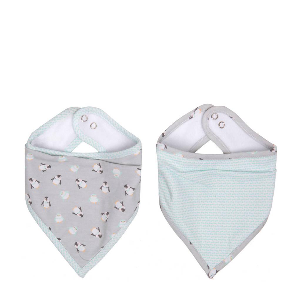 bébé-jou bandana slab Lou-Lou - set van 2, Grijs/mintgroen