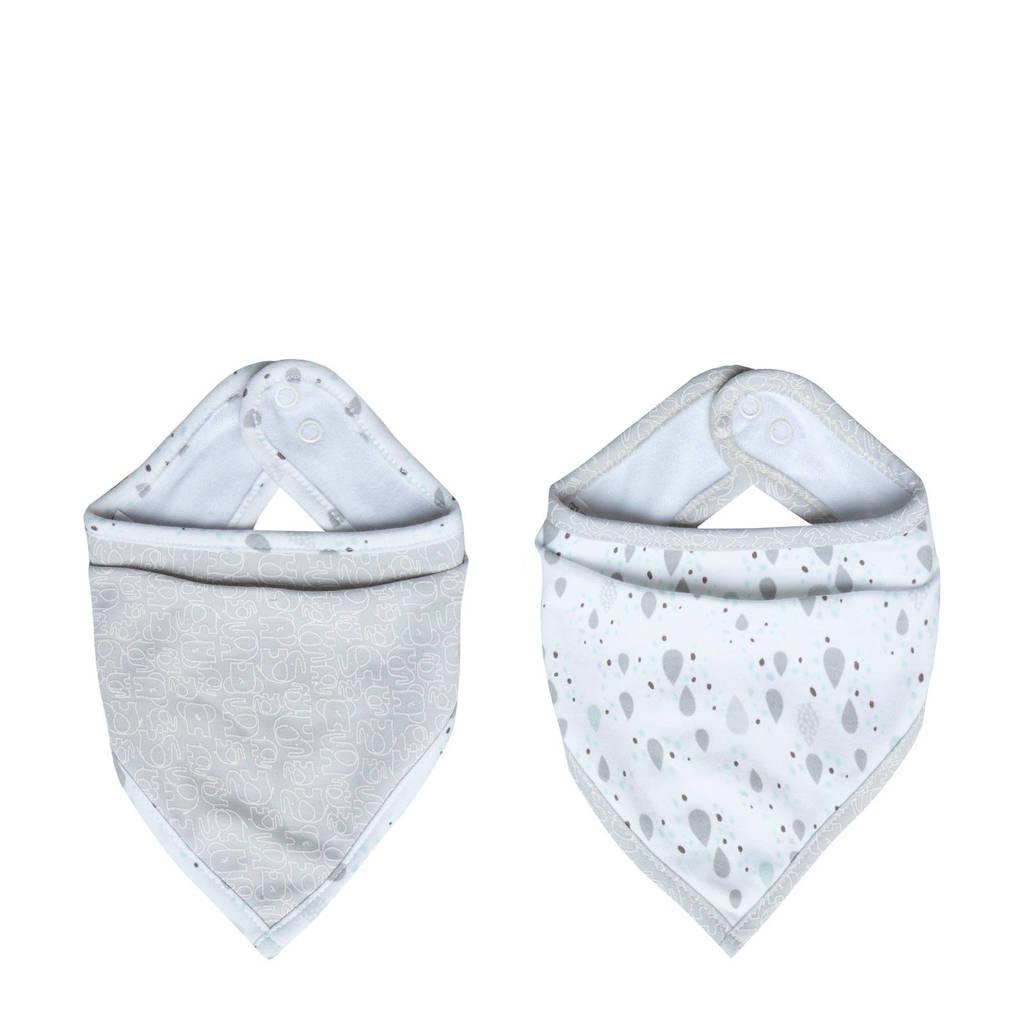 bébé-jou bandana slab Ollie - set van 2, Lichtgrijs/wit