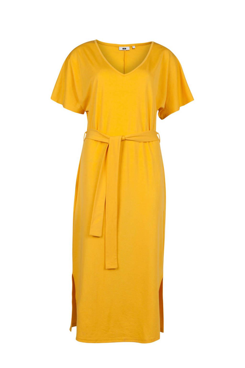 WE Fashion jurk met split en strikdetail geel, Geel