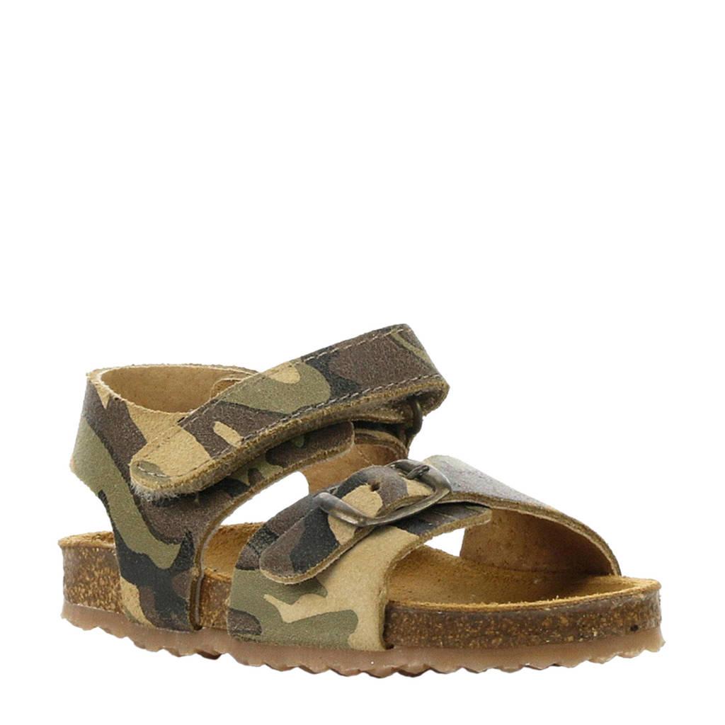 Develab nubuck sandalen camouflage, Groen/legergroen