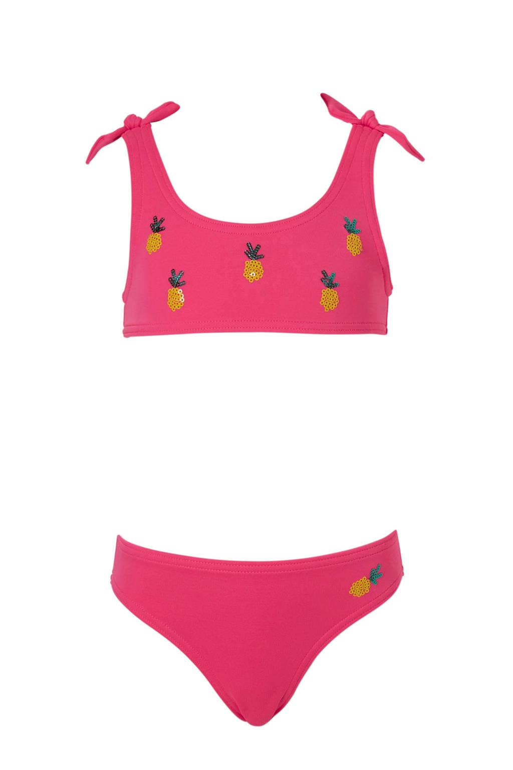 C&A Rodeo bikini met ananas roze, Neon roze/geel/groen