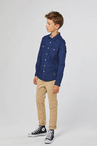 WE Fashion Blue Ridge slim fit denim overhemd blauw, Blauw