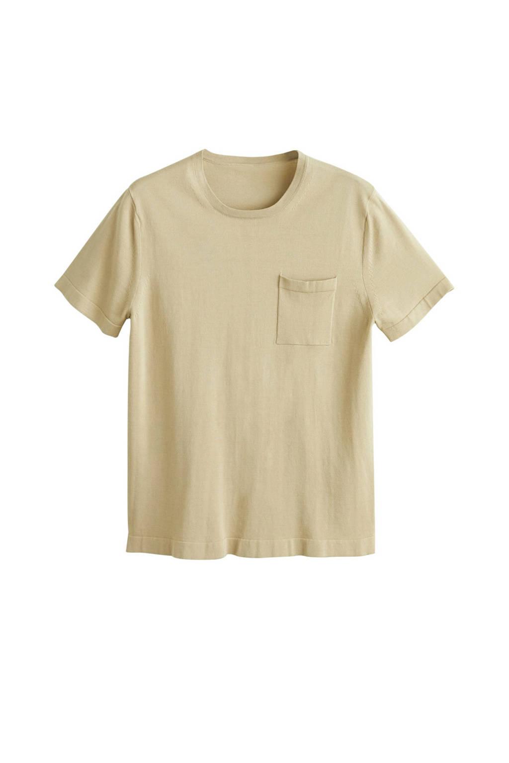 Mango Man fijn gebreid T-shirt, Lichtbeige