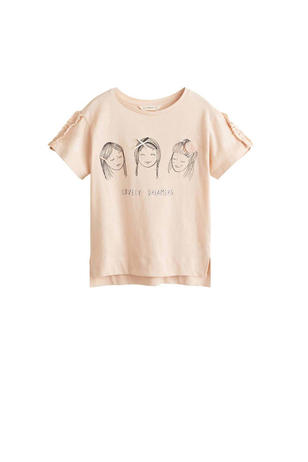 Mango Kids T-shirt met printopdruk en ruches roze, Lichtroze