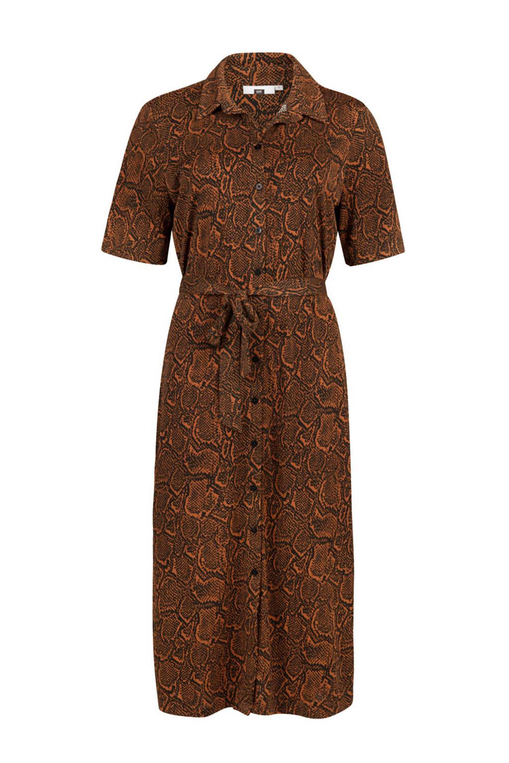 WE Fashion blousejurk met slangenprint, Bruin