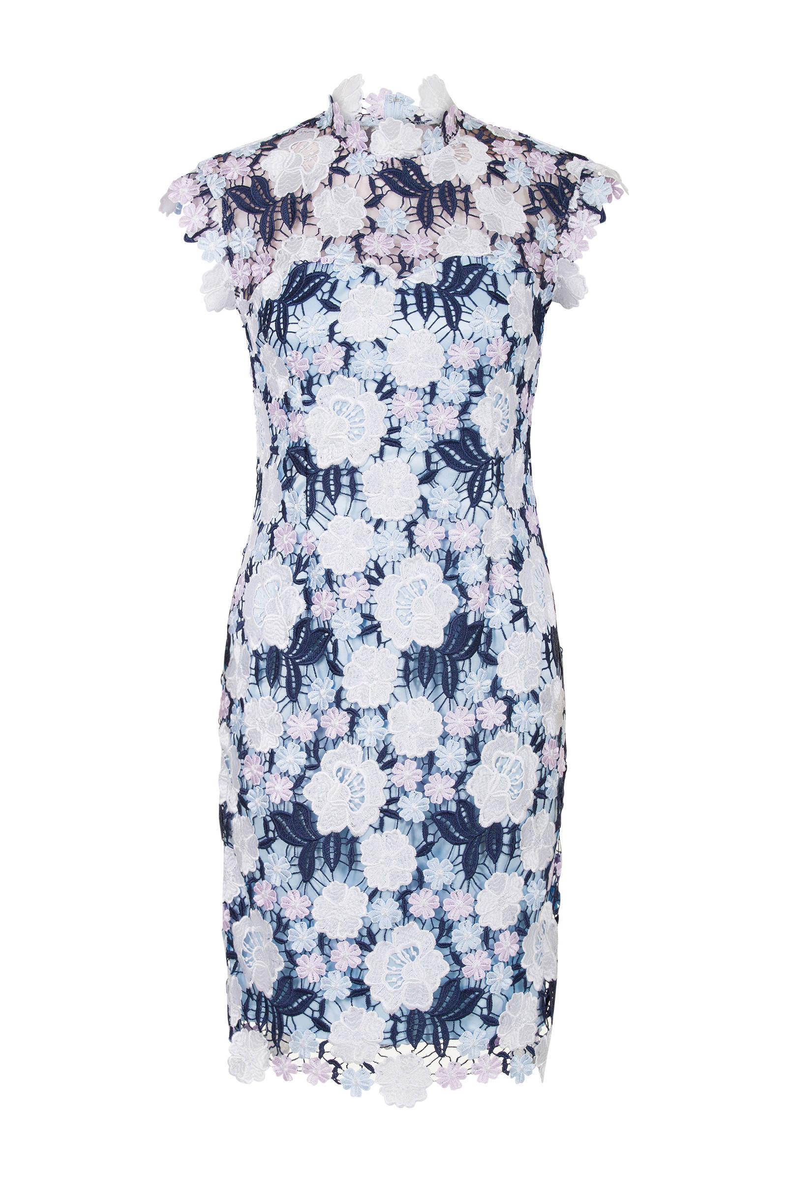 Steps kanten jurk met bloemen blauw | wehkamp