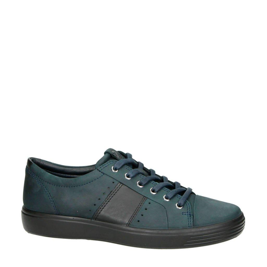 Ecco  comfort Soft 7 nubuck veterschoenen donkerblauw, Donkerblauw/zwart