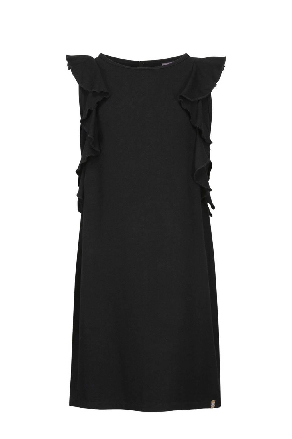 Baker Bridge jurk Djenna met ruches zwart, Zwart