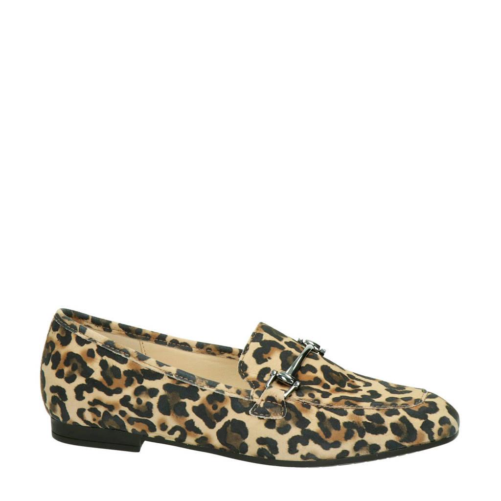 Gabor   suède loafers met panterprint, Bruin/zwart