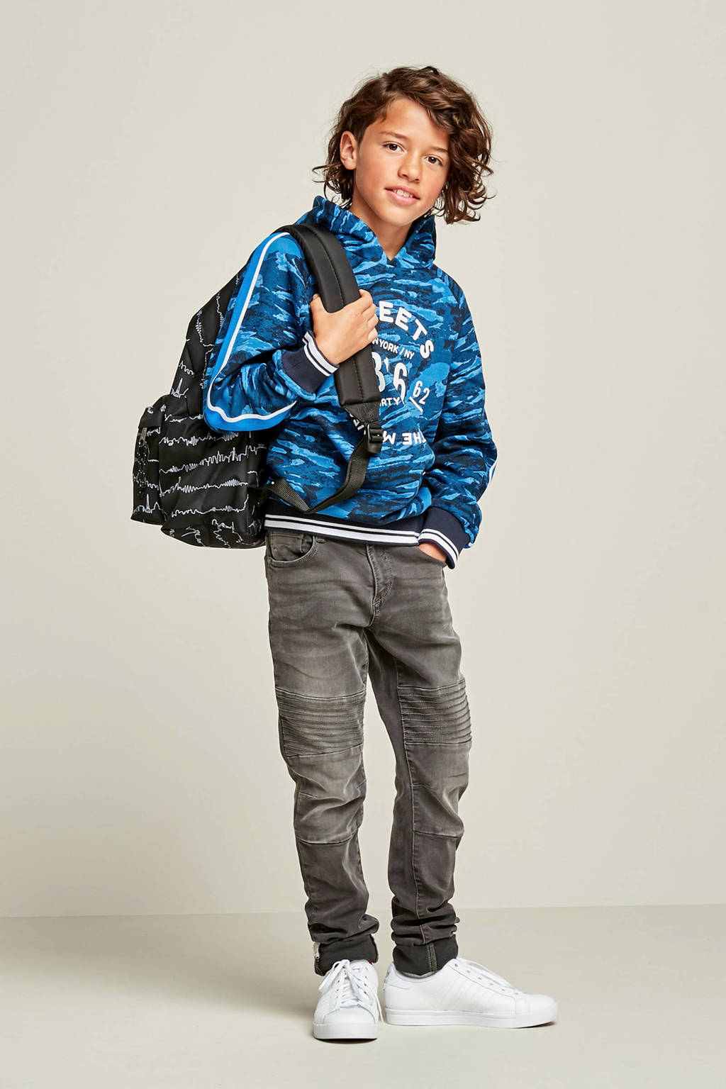 WE Fashion Blue Ridge super skinny jeans Pedro Biker, Grijs