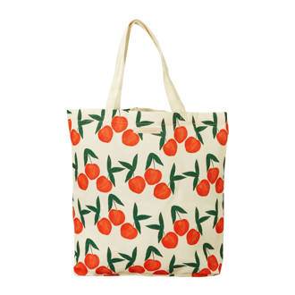 shopper met all over kersen print