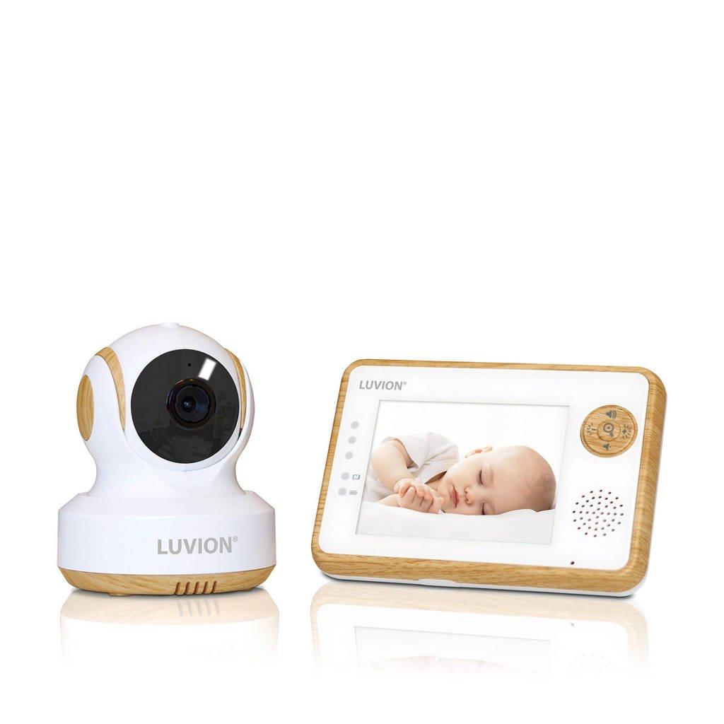 "Luvion  Essential Limited Wood babyfoon met camera en 3.5"" kleurenscherm, Wit/beige"
