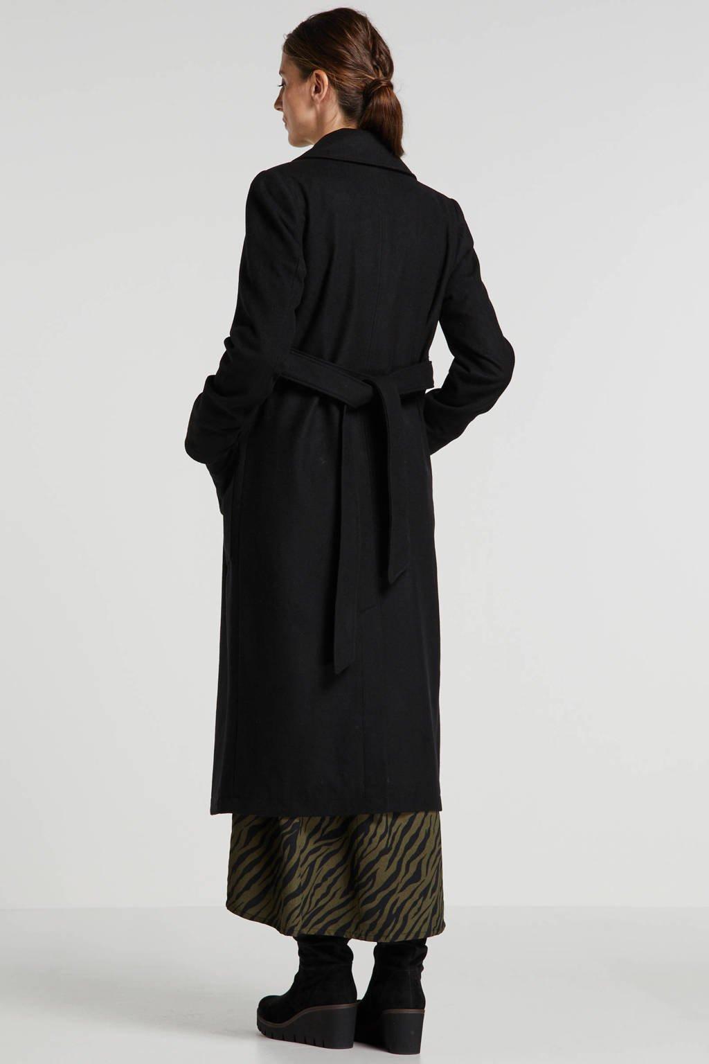 wehkamp zwangerschapscoat met wol zwart, Zwart