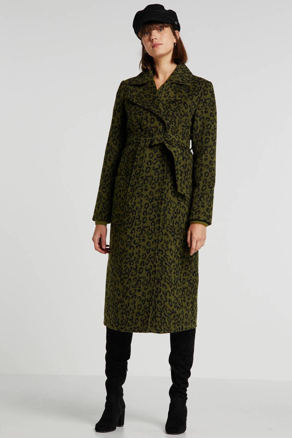 wehkamp zwangerschapscoat winter met wol en panterprint groen/zwart, Groen/zwart