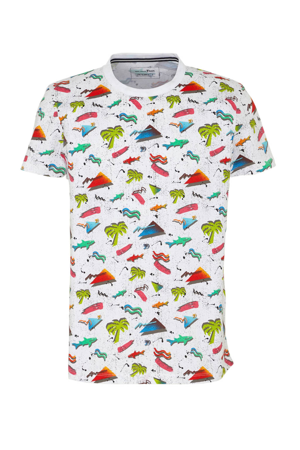 Tom Tailor T-shirt met all over print, Wit/multi