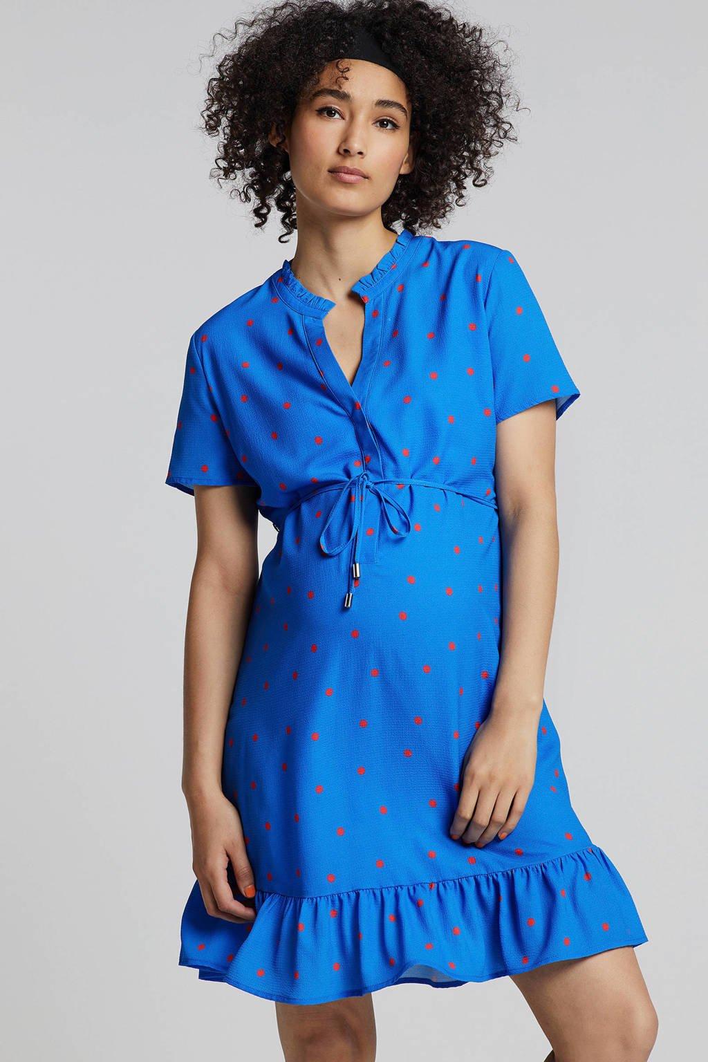 gevoerde zwangerschapsjurk met stippenprint, Kobaltblauw/rood