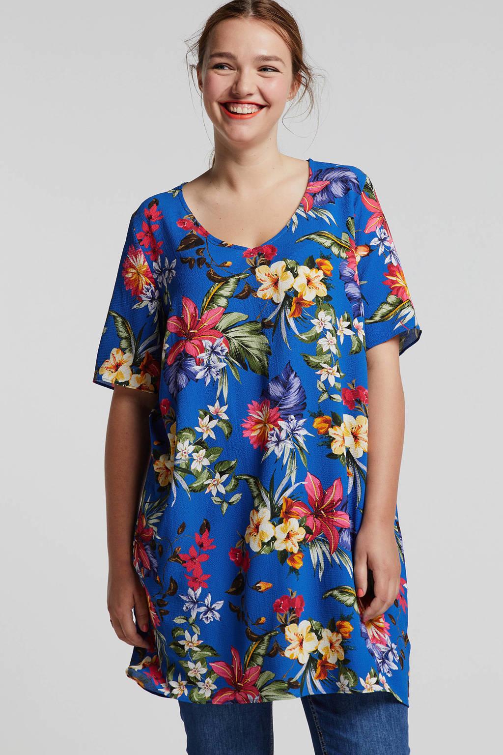 whkmp's great looks crëpe geweven tuniek met bloemprint, Kobaltblauw