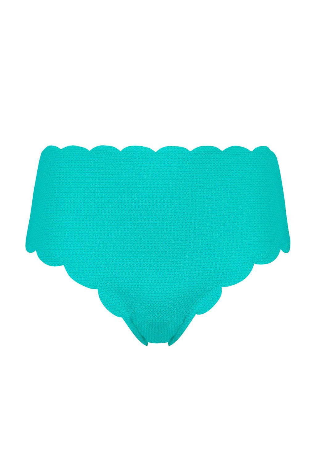 Hunkemöller hoog bikinibroekje met textuur blauw, Blauw