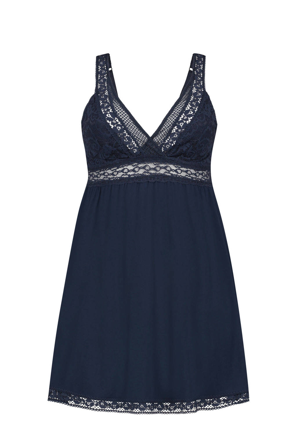 Elegant slipdress met kant donkerblauw, Blauw