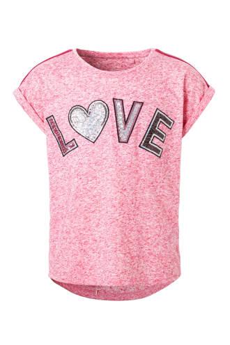 Here & There gemêleerd T-shirt met pailetten tekst roze