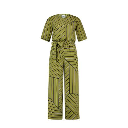 CKS Essenza jumpsuit met streepprint olijfgroen kopen