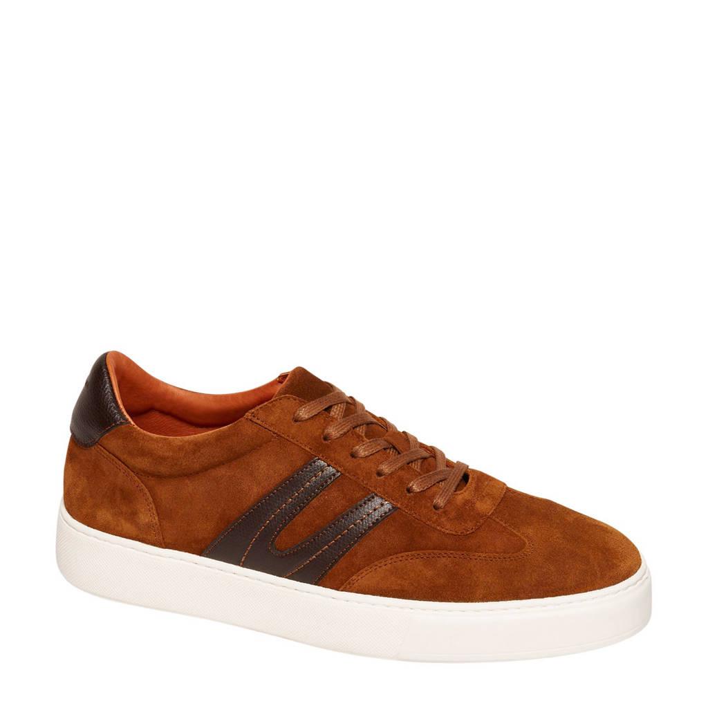 Van Lier  suède sneakers cognac, Cognac/bruin