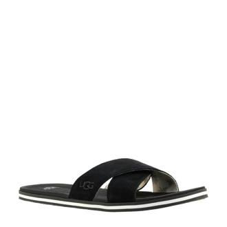 Beach suède slippers zwart