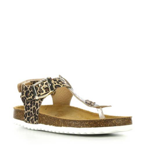 Develab leren sandalen met panterprint kopen
