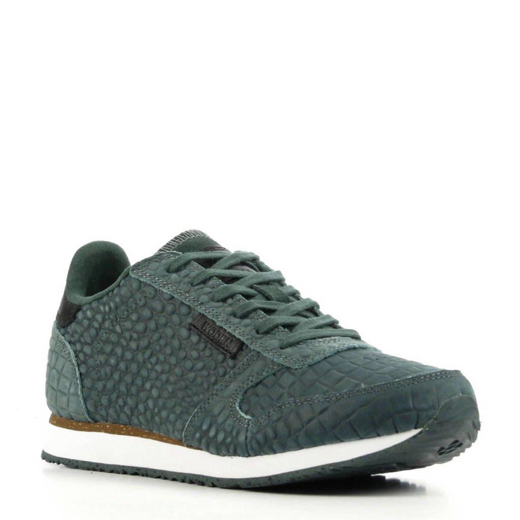 Woden  Ydun Croco suède sneakers crocoprint groen, Groen