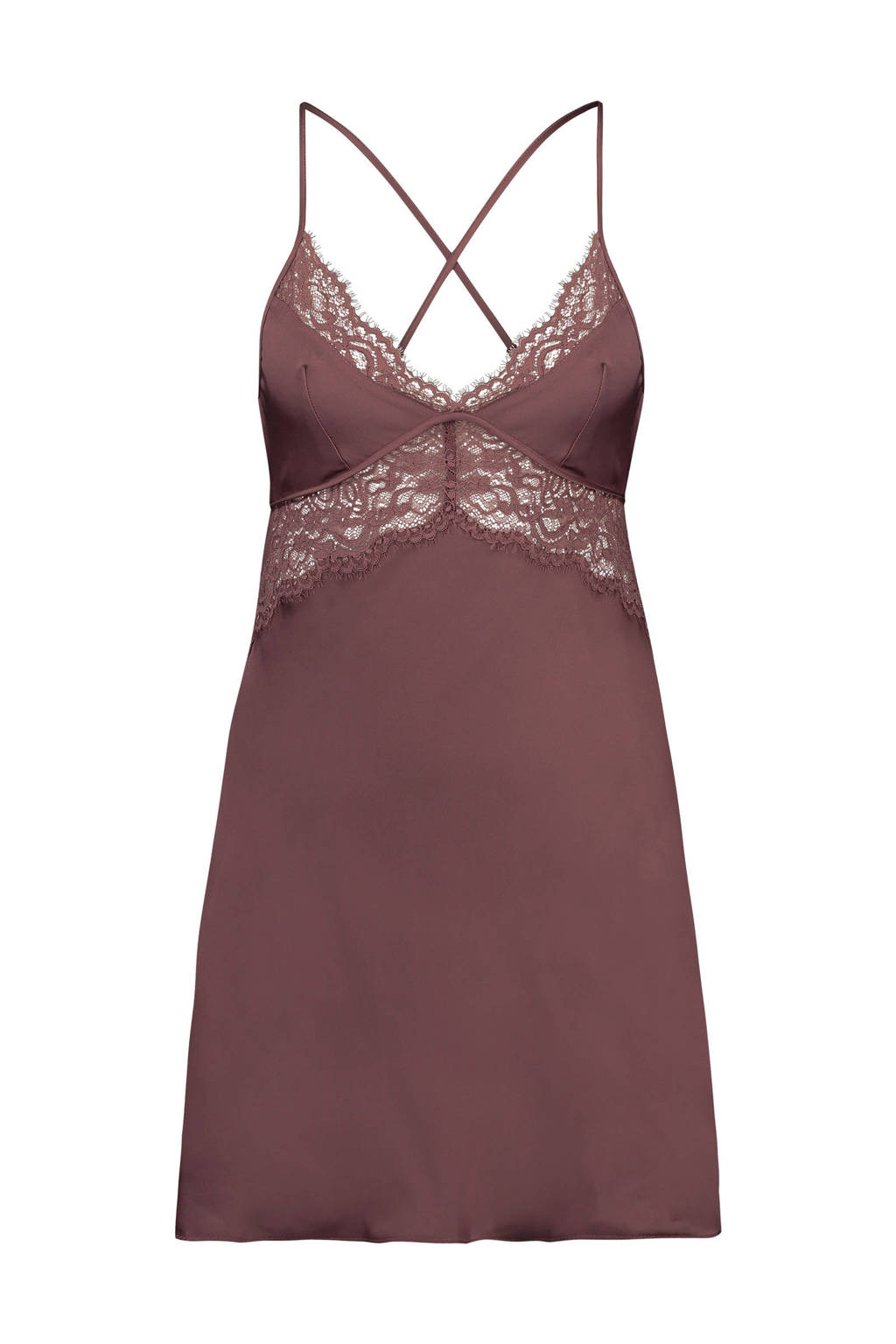 Hunkemöller Private slipdress Satin Honey met kant donkerroze, Donkerroze
