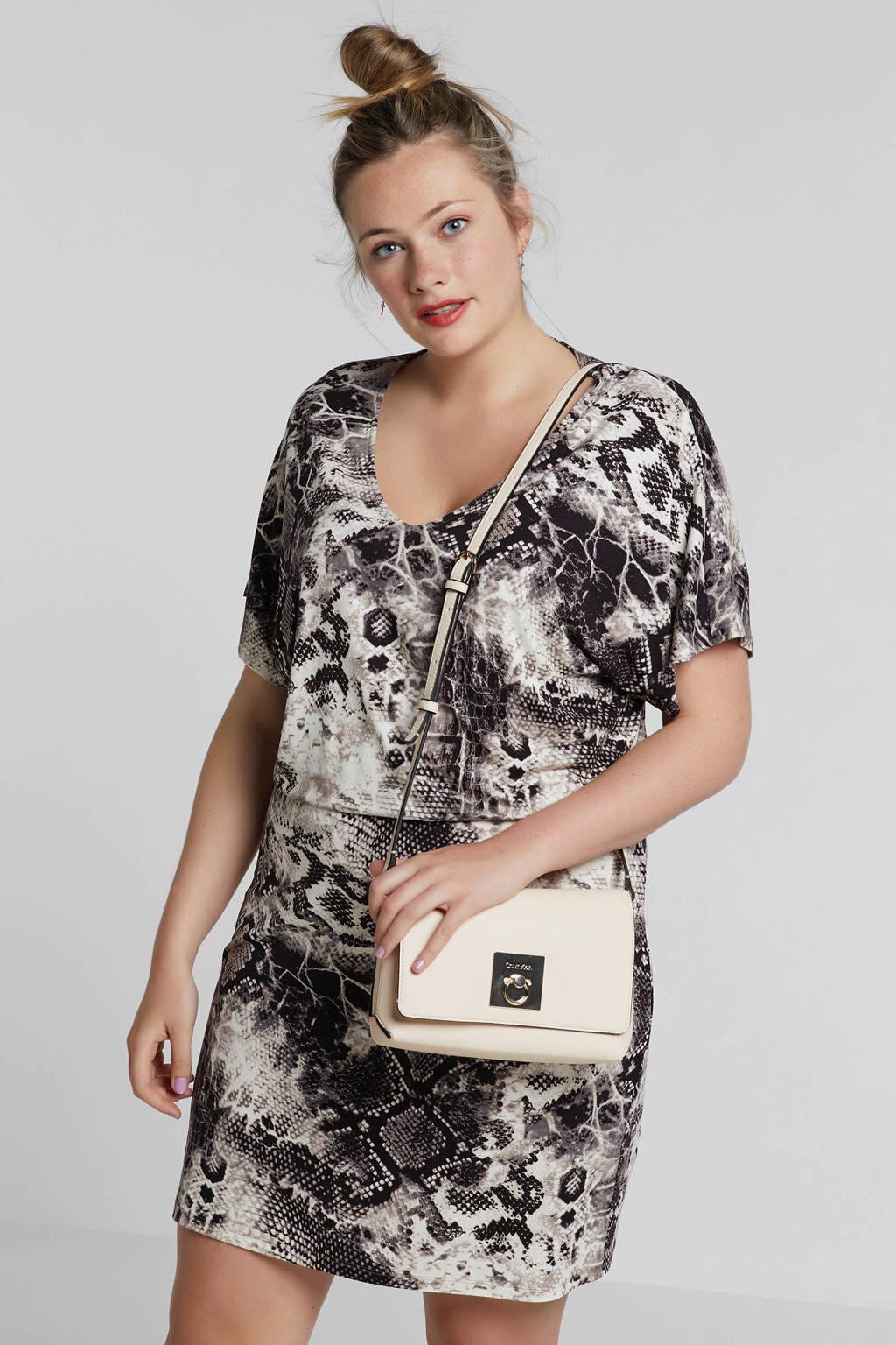 whkmp's great looks jersey jurk met slangenprint, Grijs/ecru/zwart