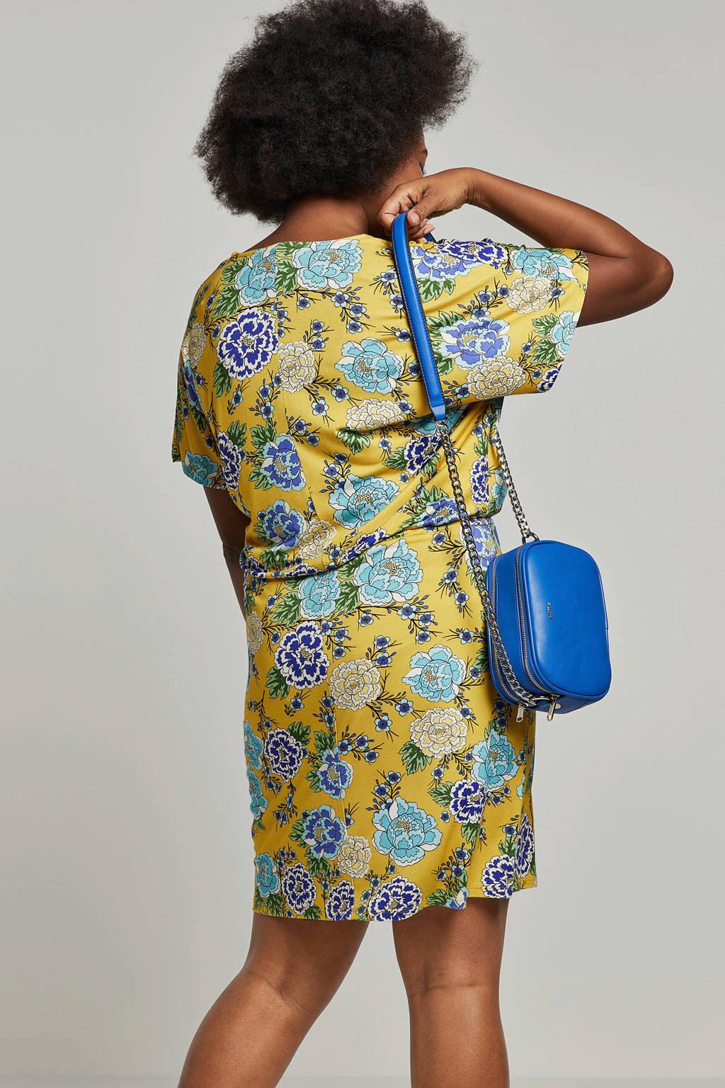 whkmp's great looks gebloemde jersey jurk okergeel, Okergeel